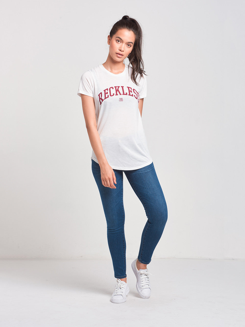 Reckless Girls Womens - Tops - Tees Rep City Long Scoop Tee- White