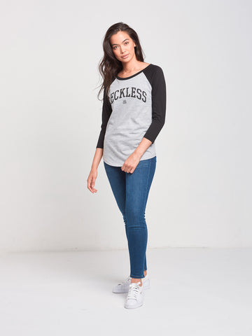 Reckless Girls Womens - Tops - Tees Rep City Raglan- Grey/Black