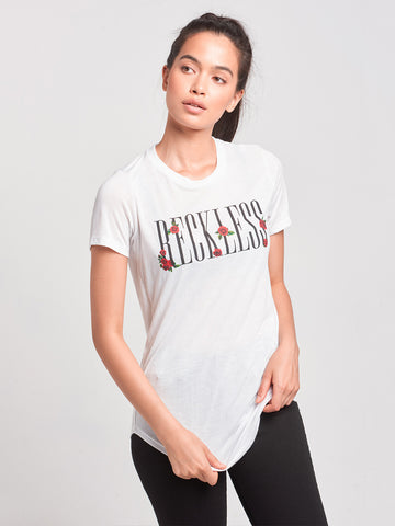 Reckless Girls Womens - Tops - Tees Rose Garden Long Scoop Tee- White