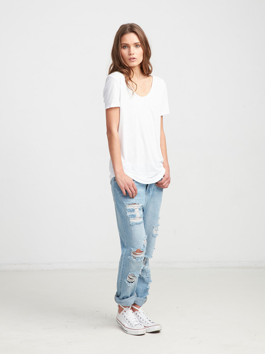 Ryder Scoop Neck Tee - White