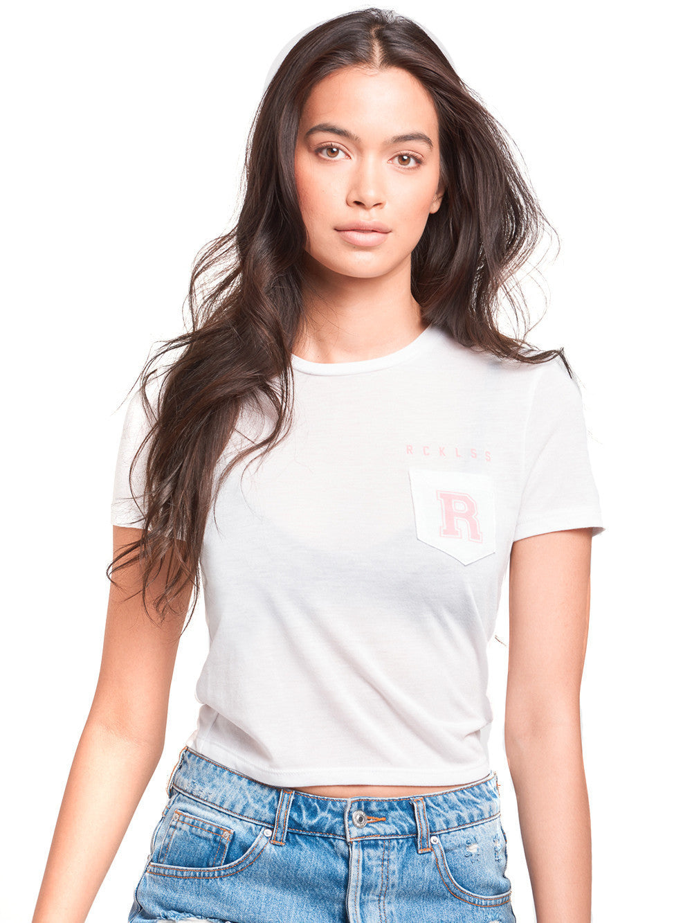 Slide by cropped pocket tee white for Pocket tee shirts for womens
