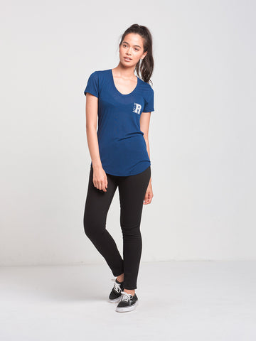 Slide By Scoop Neck Tee- Navy