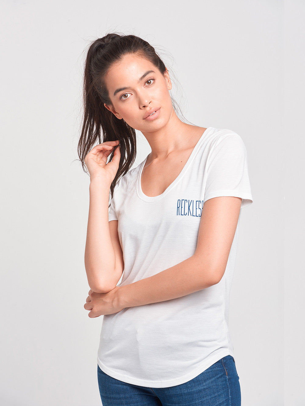 Reckless Girls Womens - Tops - Tees Stand Tall Scoop Neck Tee- White