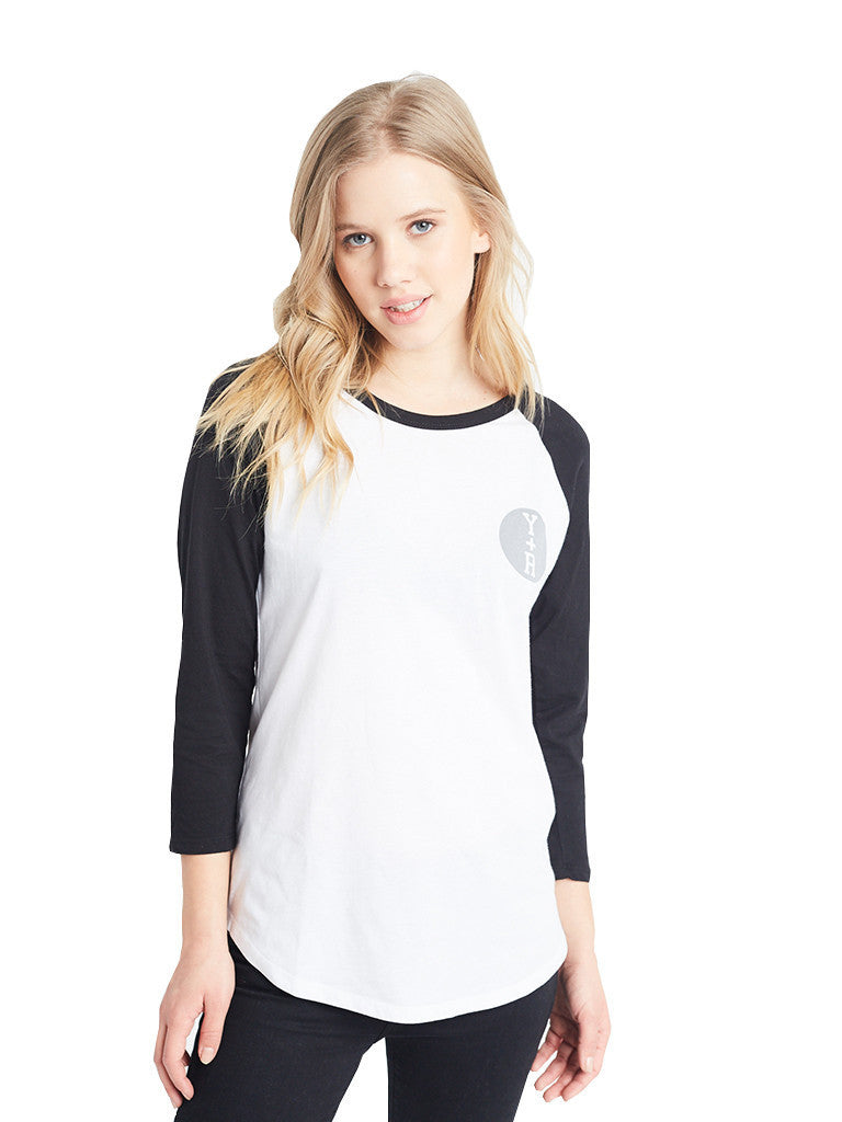 Reckless Girls Womens - Tops - Tees Varsity Stacked Circle Raglan