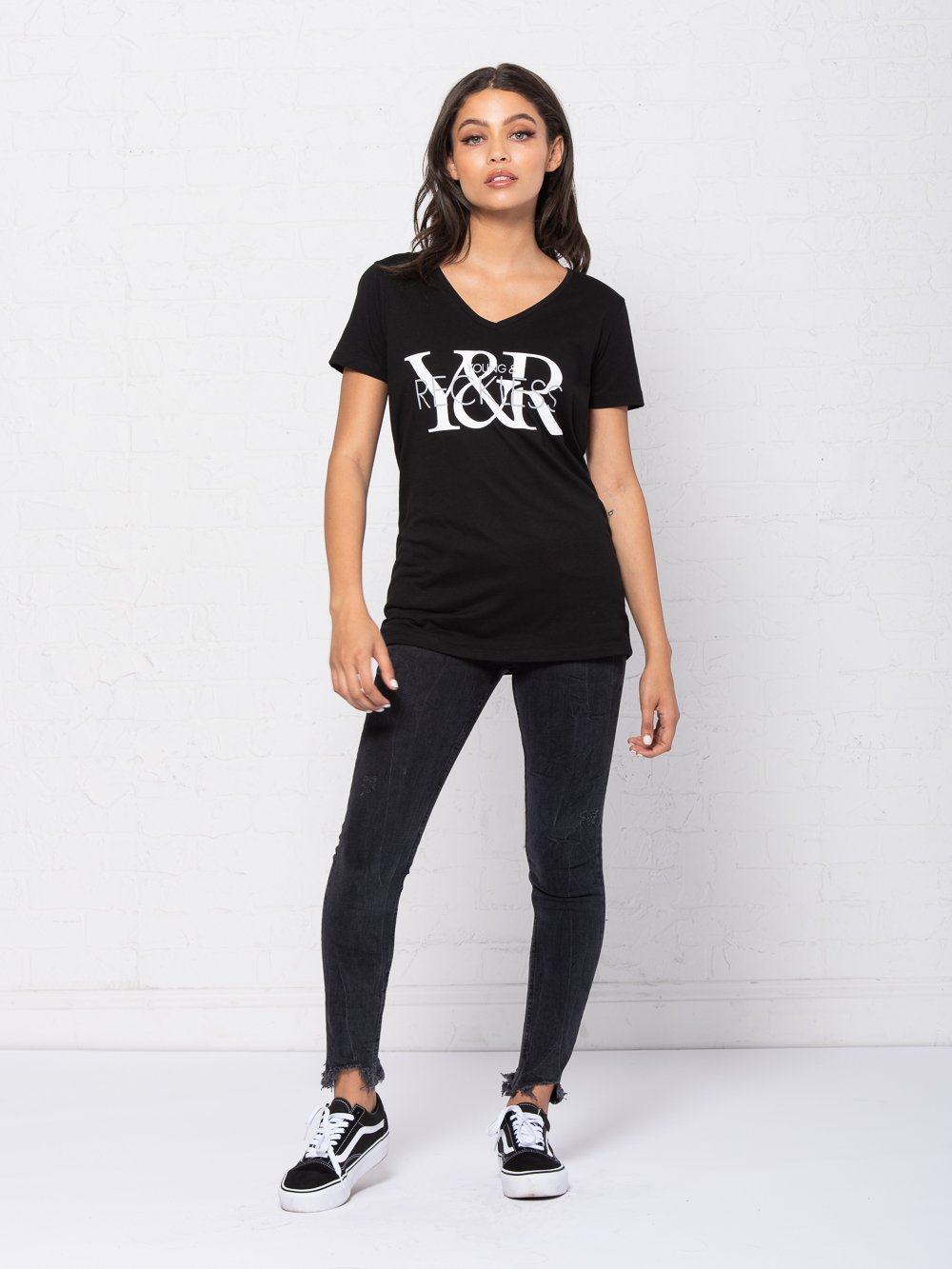 Reckless Girls Womens - Tops - Tees Vintage YR V-Neck Tee - Black