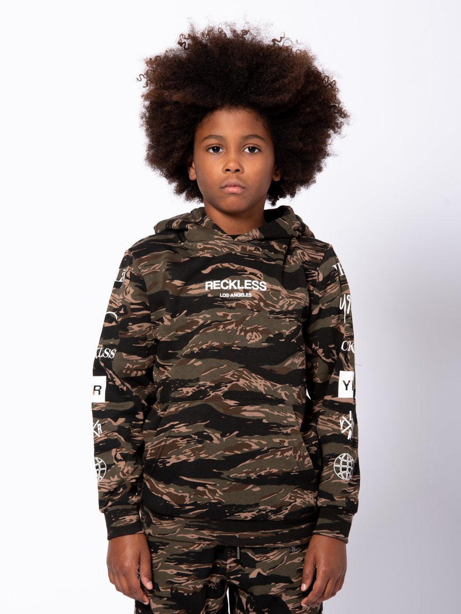 Young and Reckless Boys Youth - Tops - Hoodies Youth Malachi Hoodie - Tiger Camo