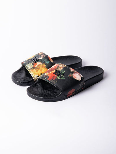 Young and Reckless Mens - Accessories - Footwear Pacific Bloom Slides - Black BLACK / 7