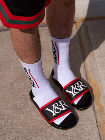 Young and Reckless Mens - Accessories - Footwear Trademark Slides - Black/Red