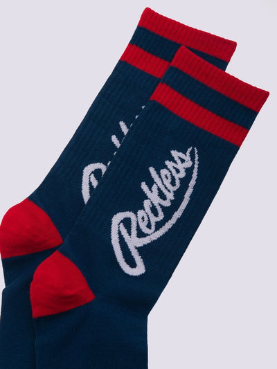 Young and Reckless Mens - Accessories - Socks Big R Script Socks - Navy/Red OS / NAVY/RED