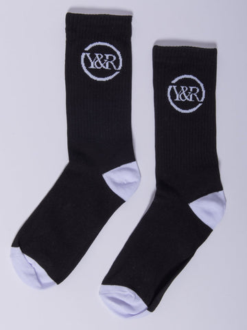 Young and Reckless Mens - Accessories - Socks Trademark Loop Socks- Black/White
