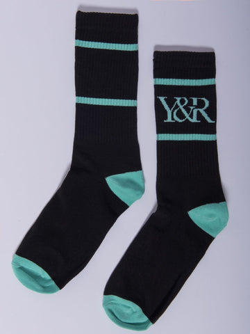 Young and Reckless Mens - Accessories - Socks Trademark Socks- Black/Ice Green