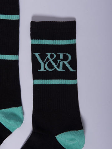 Trademark Socks- Black/Ice Green