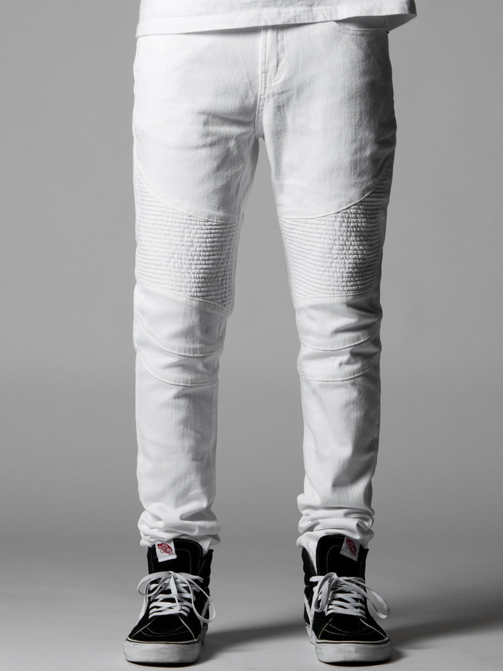 Young and Reckless Mens - Bottoms - Denim Carnaby Skinny Moto Jeans- White