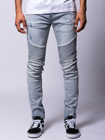 Young and Reckless Mens - Bottoms - Denim Felix Skinny Moto Jeans- Ice