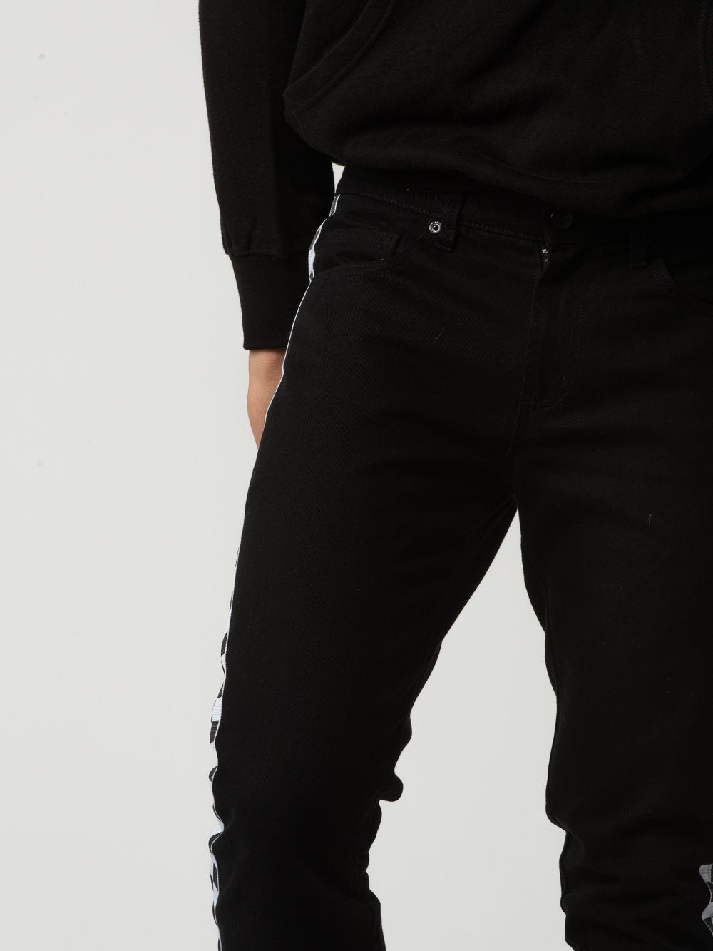 Young and Reckless Mens - Bottoms - Denim Gasket Jeans - Black/White