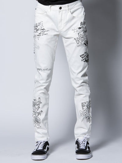 Young and Reckless Mens - Bottoms - Denim Griffon Jeans - White 28 / WHITE