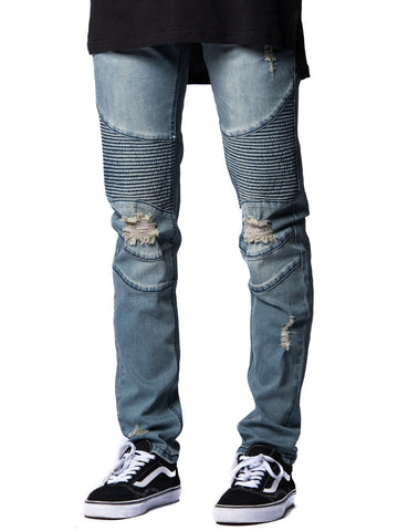 Young and Reckless Mens - Bottoms - Denim Nixon Skinny Moto Jeans- Indigo