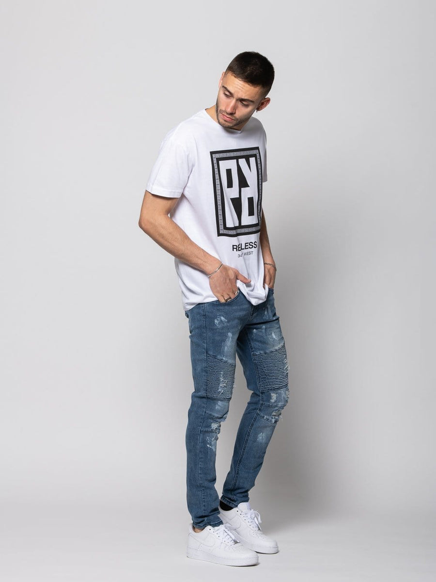 Young and Reckless Mens - Bottoms - Denim Porter Skinny Moto Denim - Indigo 28 / INDIGO