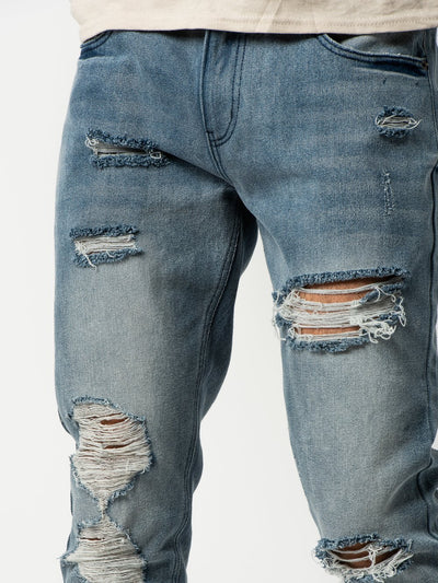 Young and Reckless Mens - Bottoms - Denim Robertson Tapered Jeans - Indigo Blue