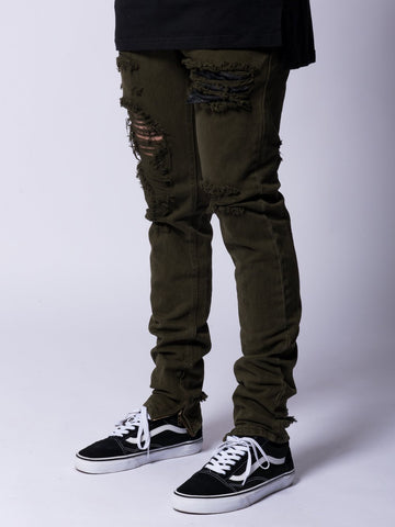 Young and Reckless Mens - Bottoms - Denim Robertson Tapered Jeans- Olive