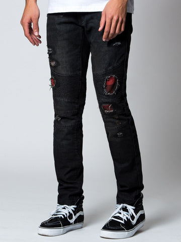Young and Reckless Mens - Bottoms - Denim Shredder Premium Skinny Moto Denim- Black