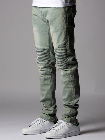 Young and Reckless Mens - Bottoms - Denim Stanford Skinny Moto Jeans- Light Indigo
