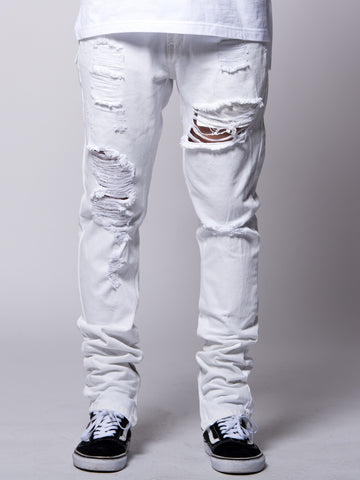 Young and Reckless Mens - Bottoms - Denim Teddy Tapered Jeans- White