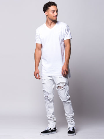 Teddy Tapered Jeans- White