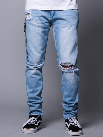 Young and Reckless Mens - Bottoms - Denim Venice Skinny Jean- Light Indigo