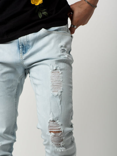 Young and Reckless Mens - Bottoms - Denim Walker Tapered Jeans - Bleach Blue