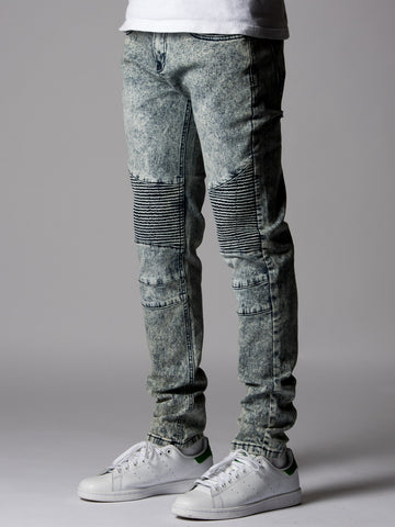 Young and Reckless Mens - Bottoms - Denim Winston Skinny Moto Jeans- Acid