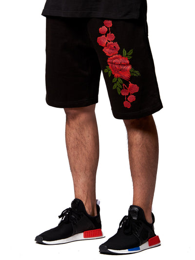 Young and Reckless Mens - Bottoms - Shorts Rosebud Sweatshorts- Black
