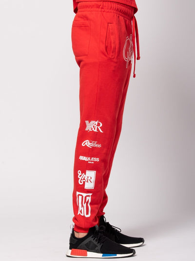 Young and Reckless Mens - Bottoms - Sweatpants Derailed Sweatpants - Red/White