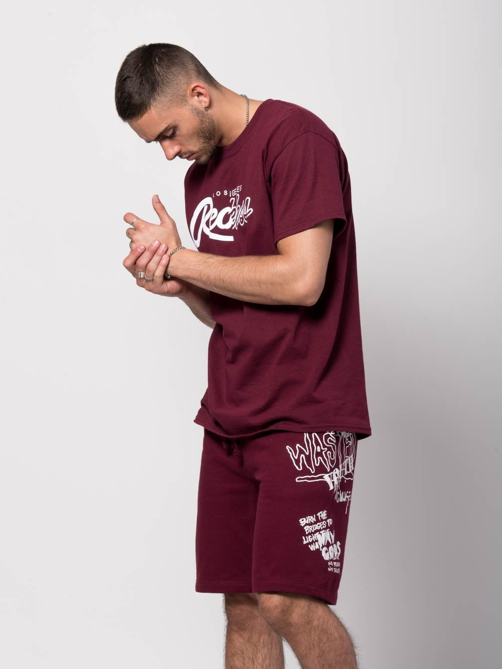 Young and Reckless Mens - Bottoms - Sweatpants Griffon Sweatshorts - Burgundy