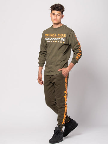 Racer Sweatpants - Olive/Orange