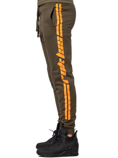 Young and Reckless Mens - Bottoms - Sweatpants Racer Sweatpants - Olive/Orange