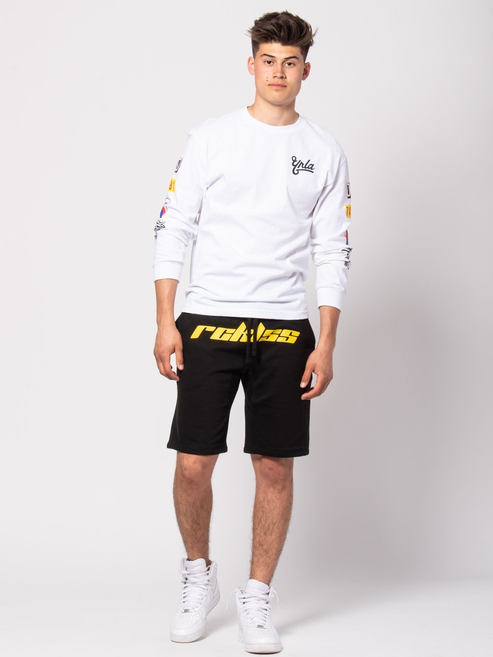 Young and Reckless Mens - Bottoms - Sweatpants Racer Sweatshorts - Black/Yellow