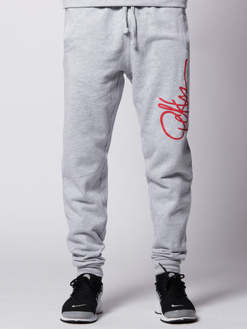 Young and Reckless Mens - Bottoms - Sweatpants Signature Sweatpants- Heather/Red