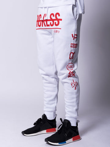 Strike Thru Sweatpants- White