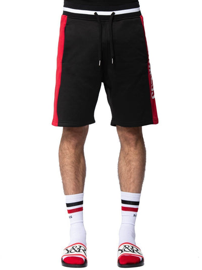 Young and Reckless mens - bottoms - sweatshorts Denali Sweatshorts - Black/Red S / BLACK/RED