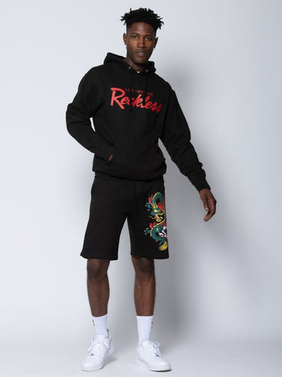 Young and Reckless mens - bottoms - sweatshorts Dragon Sweatshorts - Black S / BLACK