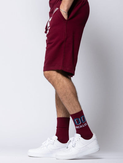 Young and Reckless mens - bottoms - sweatshorts Full Turbo Sweatshorts - Burgundy S / BURGUNDY