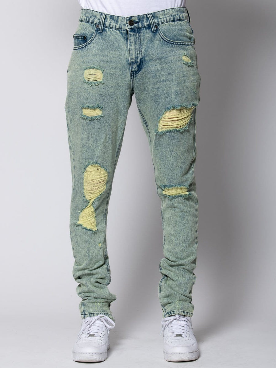 Young and Reckless Mens - Denim Robertson Tapered Jeans - Acid