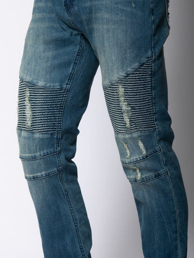 Young and Reckless Mens - Denim Sunset Skinny Moto Jeans- Bleach Indigo