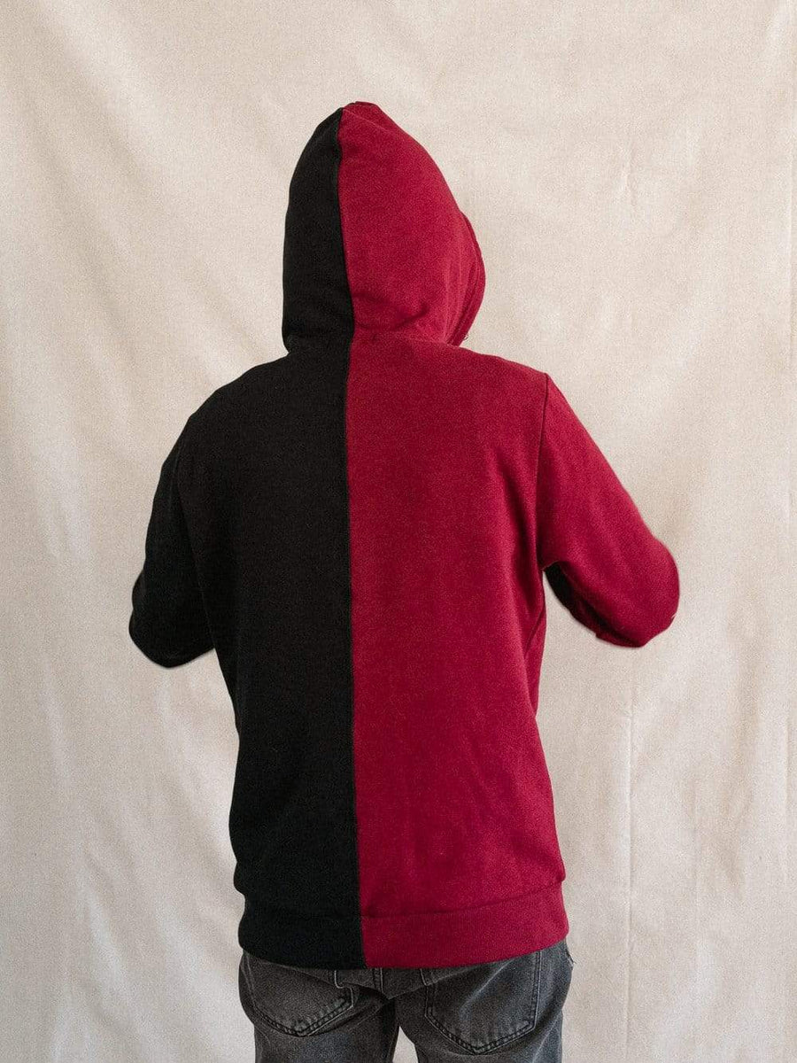 Young and Reckless Mens - Fleece - Hoodies Rupture Split Hoodie - Burgundy/Black