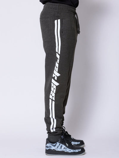 Young and Reckless Mens - Fleece - Sweatpants Racer Sweatpants - Grey/White