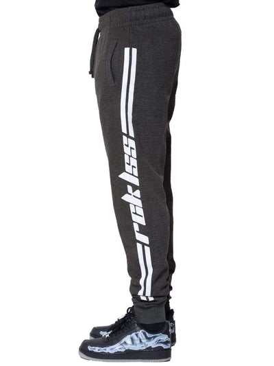 Young and Reckless Mens - Bottoms - Sweatpants - Racer Sweatpants - Grey/White