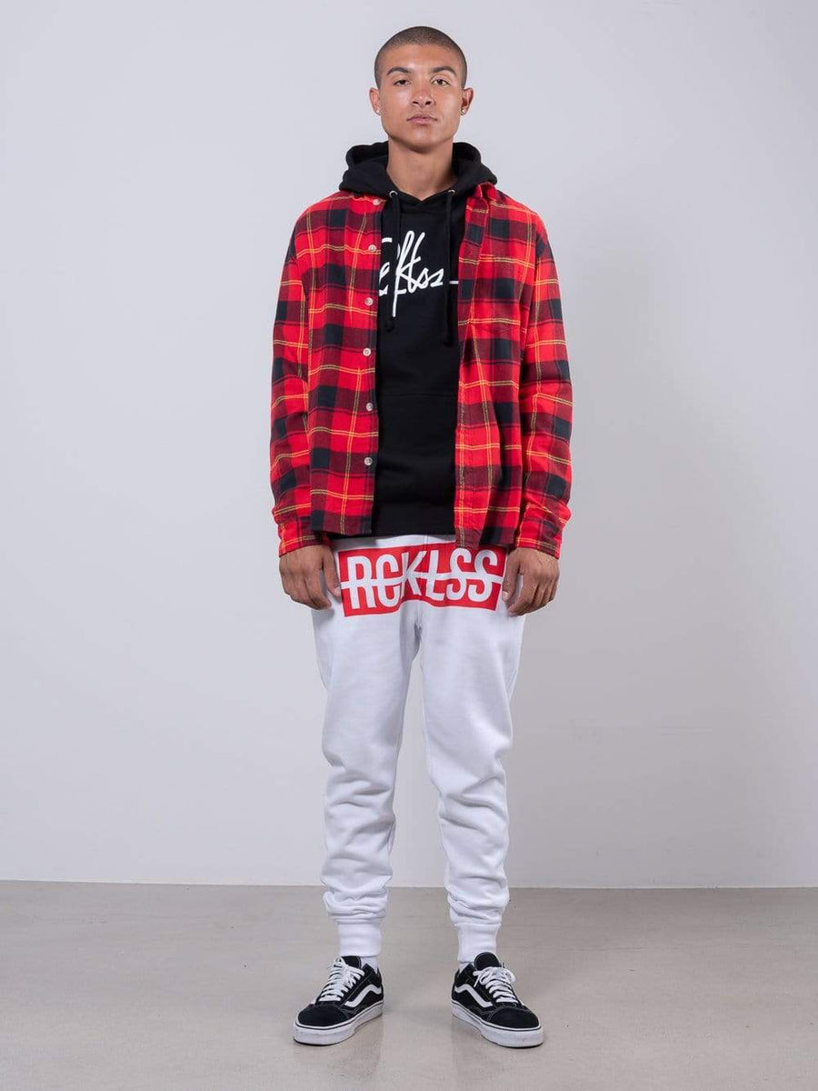 Young and Reckless Mens - Fleece  Sweatpants - Strike Box Sweatpants - White and Red