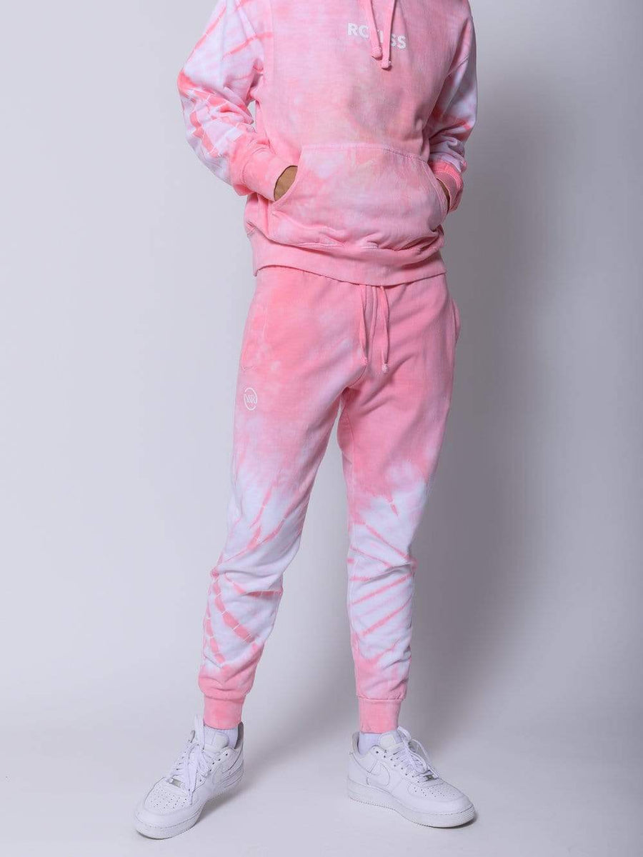 Young and Reckless Mens - Fleece - Sweatpants Surge Hoodie - Pink Tie Dye