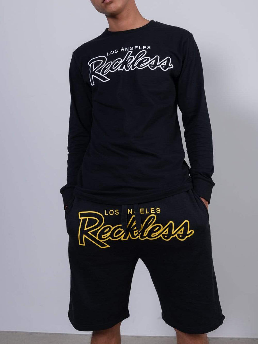 OG Reckless Outline Sweatshorts - Black/Gold